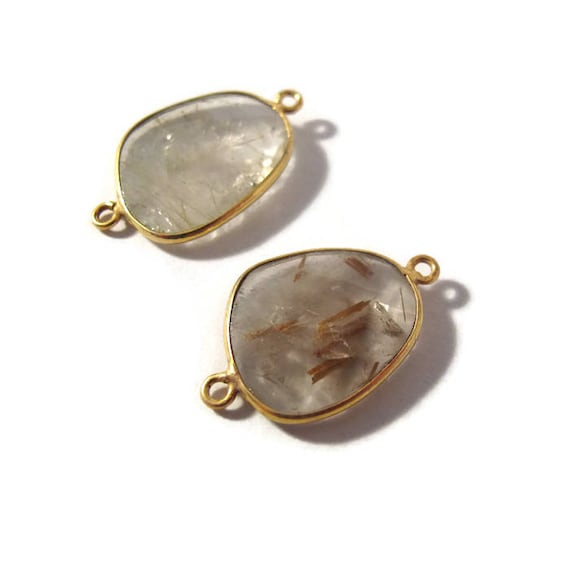 Two Golden Rutile Quartz Charms, 2 Matching Shimmering Natural Gemstone Pendants, Gold & Clear, Jewelry Supplies (C-Ru5e)