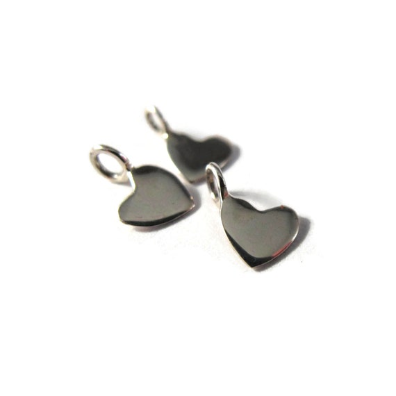 Tiny Heart Charm, Silver Heart Dangle, Sterling Silver Little Charm, Charm for Making Jewelry, Charm Bracelet or Necklace (Ch-s3049)