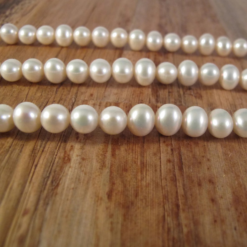 Brilliant White Freshwater Pearls 9mm x 7.5mm P-P13 Large Potato Pearls Jewelry Supplies 15.5 Inch Strand with About 50 Pearls