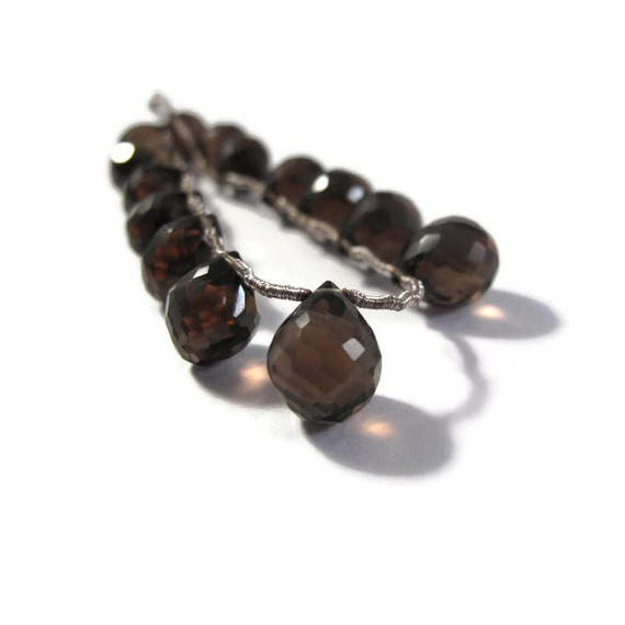 Smoky Quartz Beads, Natural Gemstone Briolettes, 9.5mm x 8mm - 11mm x 9mm, 6 Inch Strand, 14 Stones for Making Jewelry (B-Sq3a)
