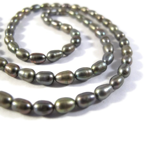 Grey Pearl Beads: Silver Gray Pearl Beads Natural Freshwater Rice Pearls 6mm