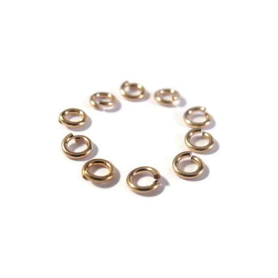 4mm Open Rings, 25 Hard Snap 14/20 Gold Filled Jump Rings, 20 Gauge, Jewelry Findings, Gold Rings, Connectors, Strong, Small Rings (H-GJH1)