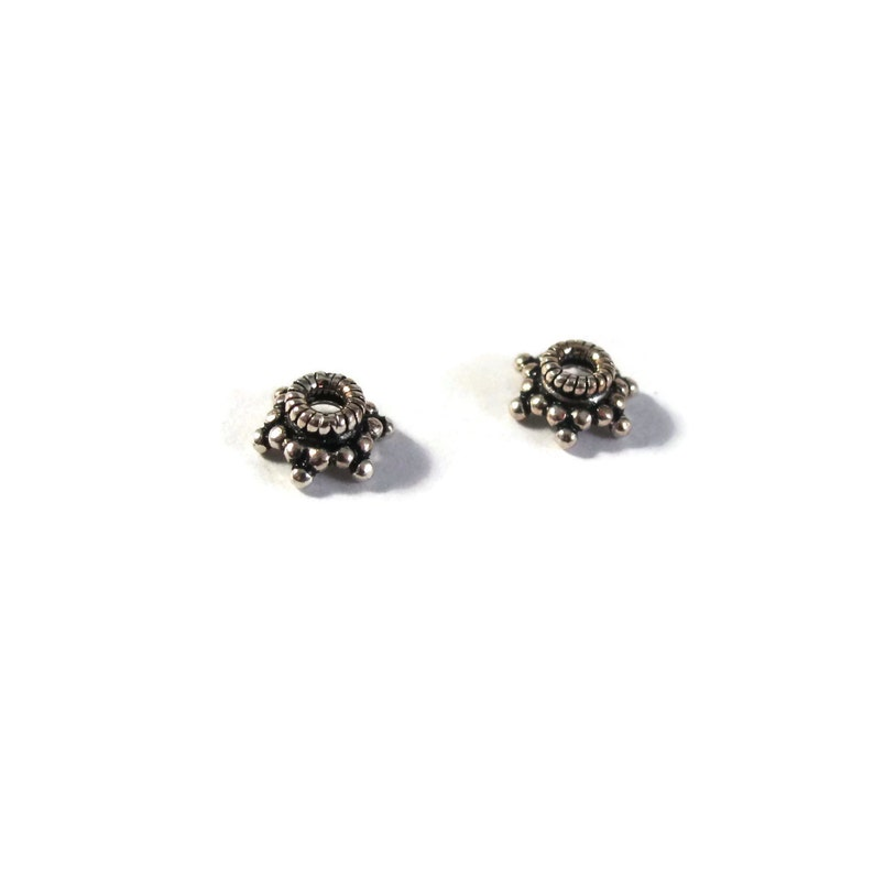 2 Sterling Silver Bead Caps for Making Jewelry Two Bead Caps H-TK250020 Spacer Beads for Bracelets Earrings