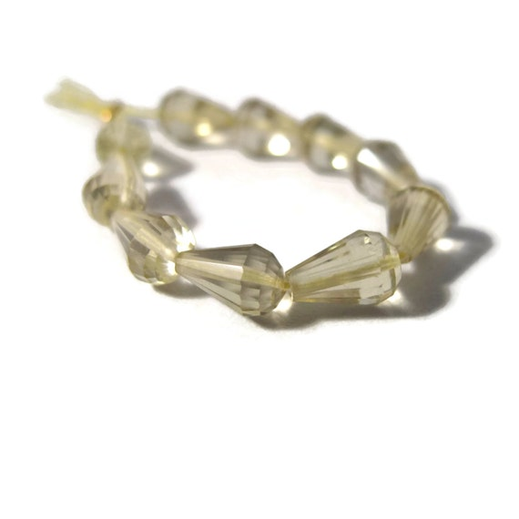 Ten Lemon Quartz Beads, Long-Drilled Chandelier Briolettes, 10 Pale Yellow Gemstones for Making Jewelry, 5mm x 4mm - 10mm x 6mm (S-Lq2b)