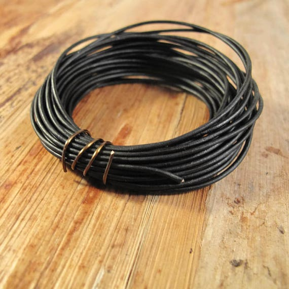 Ultra Soft Black Leather, Natural Black Round Leather, 1.0mm, 12 Feet, Cord for Wrap Bracelets and Jewelry Making, Jewelry Supplies