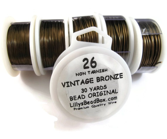 Vintage Bronze Plated Wire - 26 Gauge Wire, Wrapping Jewelry Supplies, Non Tarnish Wire, Thin Dark Wire for Making Jewelry, Craft Wire