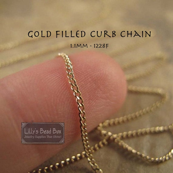 Thin Gold Chain, Five Feet (60 Inches) of 14k Gold Filled Chain, 1.1mm Curb Chain, Everyday Necklace, Jewelry Supplies (1228f)