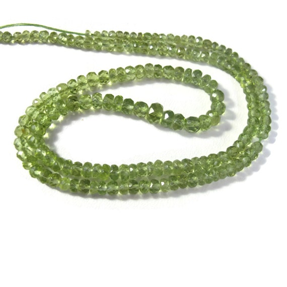 Natural Peridot Rondelle Beads, 2.5mm - 4mm, Graduated 8 Inch Strand, August Birthstone, over 72 Stones, Gemstone Beads (R-Pe3)