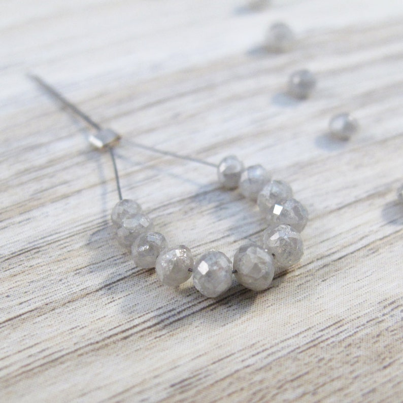 Fabulous Faceted Rondelles Mini Strand of Silvery Gray Diamonds 2-3mm Graduated Gemstones 11 Sparkling Stones Luxe-Di4