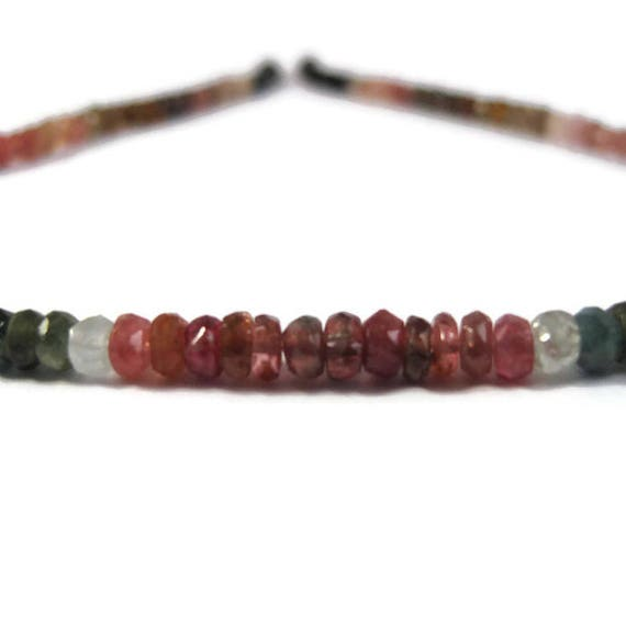 Multi Tourmaline Beads, 14 Inch Strand of Multi Color Faceted Rondelles, 4mm Natural Gemstones for Making Jewelry (R-Tou7a)