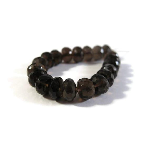 Twenty Smoky Quartz Beads, 20 Large Natural Dark Smoky Quartz Faceted Rondelle Beads, 6mm - 7mm, Jewelry Supplies (L-Sq9)