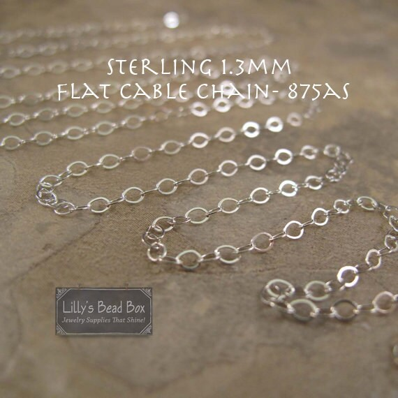1.3mm Flattened Sterling Silver Cable Chain, By the Foot, Thin Silver Chain for Jewelry Making, Jewelry Supplies (875as)