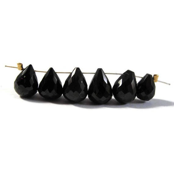 Black Spinel Briolette Beads, Imperfect Lot of Six (6) Natural Gemstone Beads, 9mm x 7mm - 11mm x 8mm (L-Mix13b)