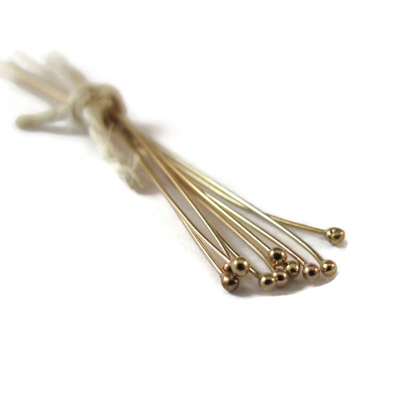 Thin Gold Headpins, Ten Gold Filled Ball End Headpins, 2 Inches, 26 Gauge, Set of 10, Findings, Jewelry Supplies, Gold Jewelry (F 481 LF)