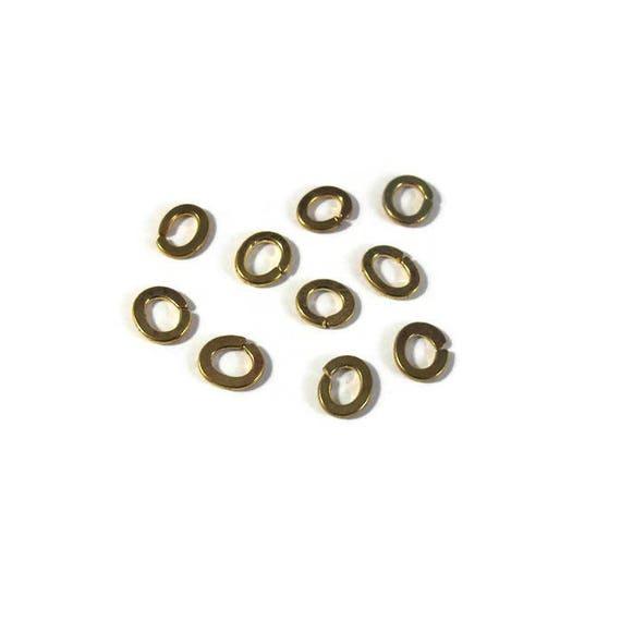 Ten Open Rings, 10 Golden Brass Jump Rings, Jewelry Findings, Gold Rings, Connectors