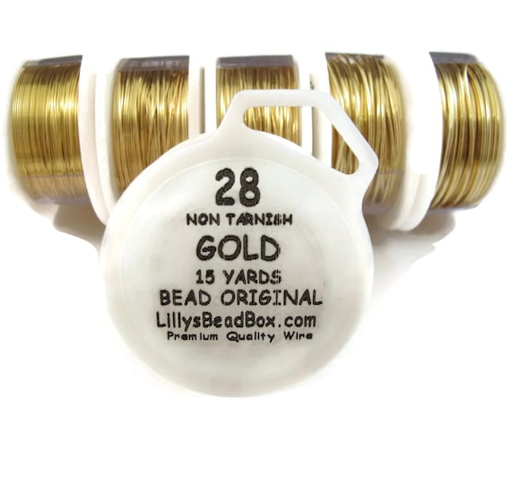 Gold Plated Wire - 28 Gauge Wire for Making Jewelry, Round Non-Tarnish Wire, Wire Wrapping Supplies, Thin Gold Craft Wire