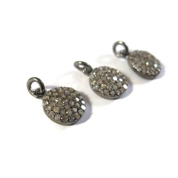 Dainty Diamond Charm, Small Pave Set Diamond Pendant, .925 Sterling Silver Round Diamond Charm, 11mm (C-Di1)