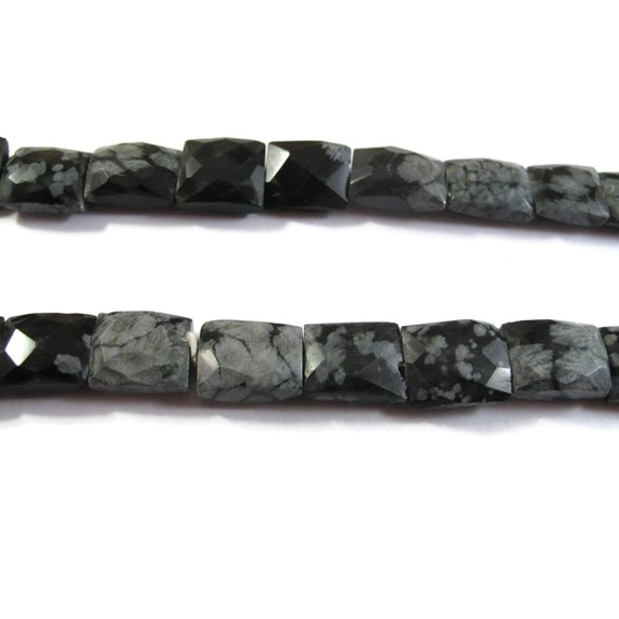 Snowflake Obsidian Beads, Black and White Gemstone Beads, 15 Inch Strand of Natural Gemstone Beads (S-Ob2)