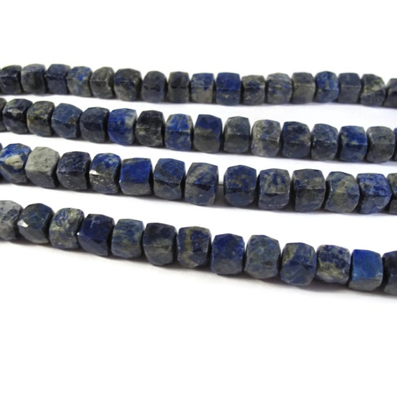Lapis Faceted Cube Beads, 8 Inches of Natural Gemstone Beads, Blue Gemstone Cubes, 7mm, Jewelry Supplies (S-Lap1a)