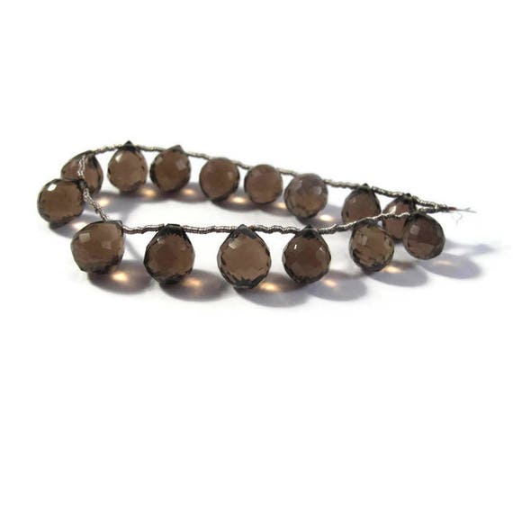 Smoky Quartz Beads, Natural Gemstone Briolettes, 9mm x 7.5mm - 10.5mm x 9mm, 6 Inch Strand, 15 Stones for Making Jewelry (B-Sq3b)