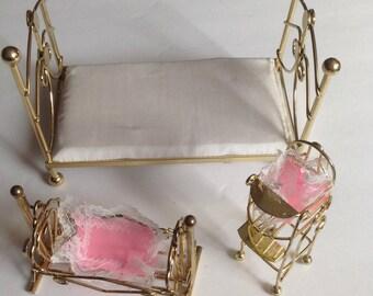 Vintage Brass Doll Furniture Bed Cradle Hi Chair