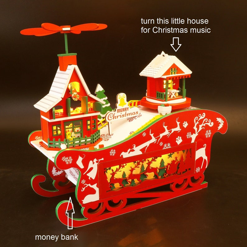 English Manual Wooden Christmas Sled with Money Bank and Rotating Music Box Miniature Do-It-Yourself Dollhouse Kit