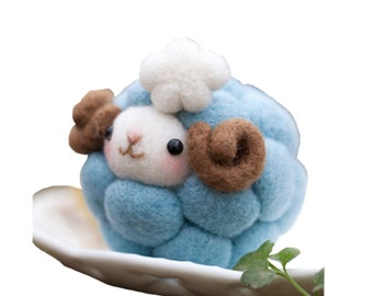 Wool Felting DIY Kit with Tools – Blue Sheep (with English Instructions) – Great Starter kit