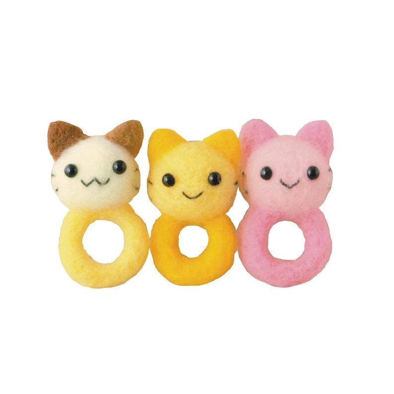 Wool Felting DIY Kit \u2013 Neko Rings with English Instructions \u2013 Imported from Japan