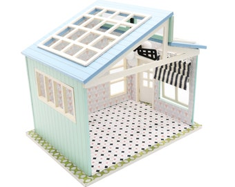 1:18 Miniature DIY Dollhouse Frame DIY Kit - Blue Roof Home with Ceiling Fan and Lights - Architecture Model kit (Assembly Required)