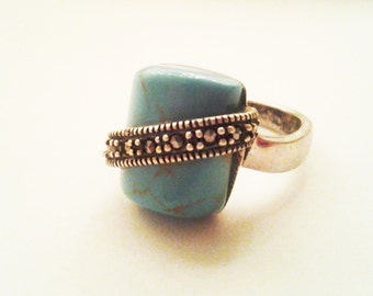 Vintage Chunky Turquoise and Marcasite Sterling Ring very UniQuE 925 silver rustic size 6