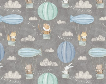 52cb1ff7f9f Adventures in the Sky by 3 Wishes Fabrics, Nursery print, Animals in Hot  Air Balloons, yard