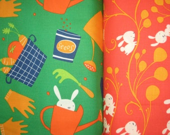 "1 yard David Walker/'s /""Garden/"" Bunnies and vines in Orange"