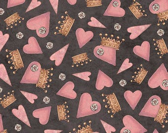 "NEW ""All for Love"" by Mirabelle by Santoro, Hearts and Crowns on Charcoal, yard"