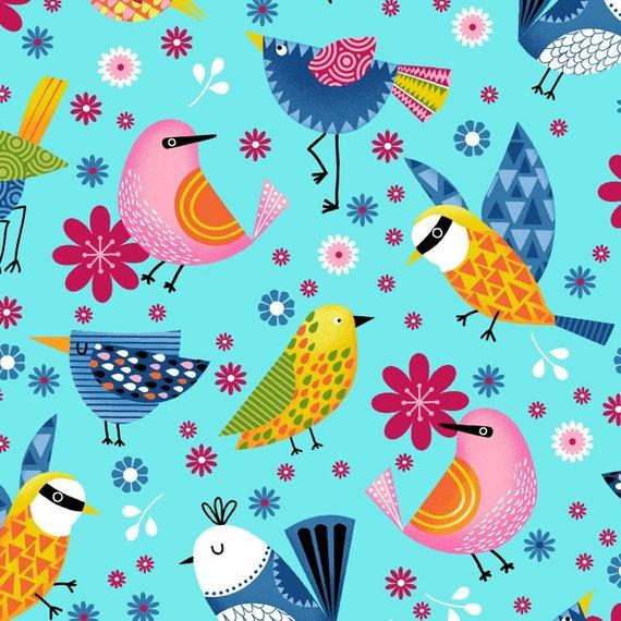 Studio E 3943-10 Sunshine Kisses Birdhouses White Cotton Quilting Fabric