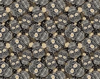 Sugar Skull Bloom in Black  by David Textiles, yard