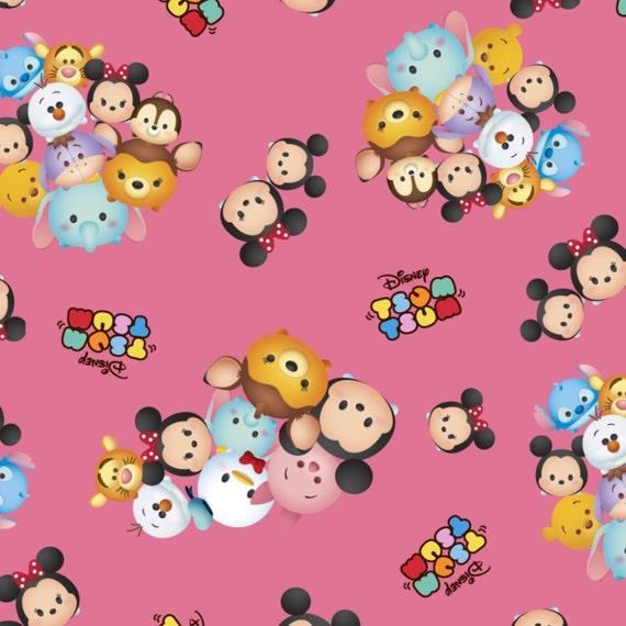 1 yard Disney Tsum Tsum Mickey /& Friends Packed  Fabric