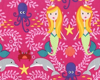 Siren Sisters in Tropical Pink, Mer-Mates by Michael Miller, yard