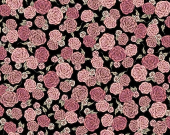 "NEW ""All for Love"" by Mirabelle by Santoro, Roses on Black, yard"