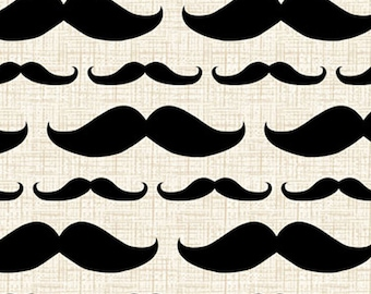Black Mustache Fabric,on Cream - Madame Et Homme Collection by David Textiles , yard