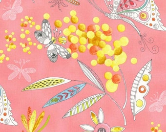 Michael Miller Fabrics, Flight Patterns, Mimosa in Pink, yard