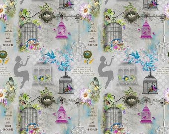 SPX Fabrics, Song Birds on Grey, half yard