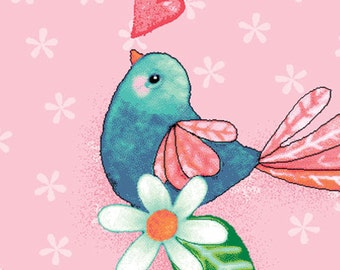 Red Rooster Fabrics, Rainbow Woodland, Pink Flower Heart Birds, Yard