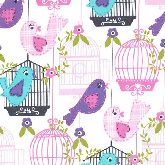 Por Michael Miller canta la canción de 1//2 yarda Blanco ~ Tela Rosa Púrpura Jaula de Aves Aqua