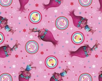 Dreamworks TROLLS, Poppy Cupcake Toss on pink, cotton fabric, 1 Yard
