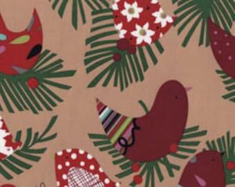 Alexander Henry's  Christmas Starlings in Brown, yard