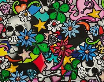 A Street Skull on Black, Nicole's Prints by Aexander Henry, yard