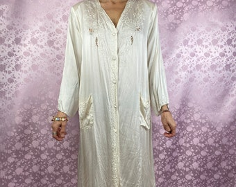 80s White Silk Robe with Red Trim and cool Flower Pattern
