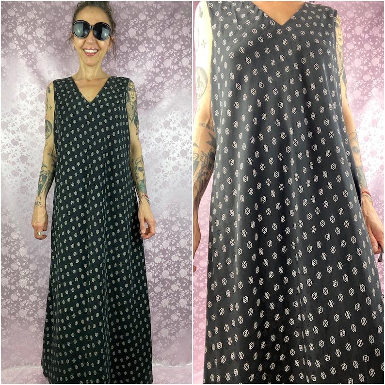 Vintage 90s Y2k maxi dress,silk charcoal black geometric kind dress,elegant feminine casual black silk long dress,size L maxi dress