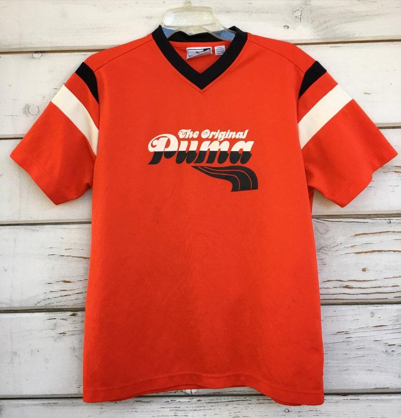 3a031ba8c9a4c Vintage 80s 90s Puma t-shirt,soccer shirt,unisex workout running athletic  orange black shirt,European Puma sports shirt