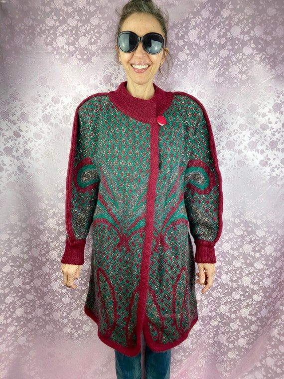 Vintage 80s 90s knit mohair coat,geometric abstrac